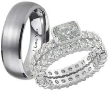 New His & Hers Titanium / 925 Sterling Silver Wedding Engagement Ring Set