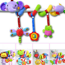 Soft Plush Toy Baby Unisex Pram Hanging Bell Bed Crib Ring Cot Spiral Rattle