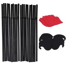 10/set Cute Mustache Red Lips Plastic Straws Wedding Engagement Party Supply