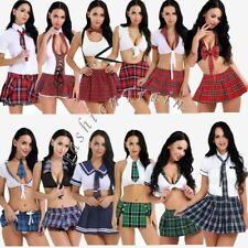 Sexy Naughty School Girls Cosplay Students Uniform Set Mini Plaid Skirt Costume