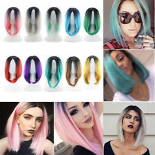 Fashion Ombre Wig Short Straight Full Wig Heat Resistant Women Cosplay Wigs +Cap