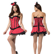 Womens Sexy Minnie Mickey Mouse Costume Polka Dot Halloween Fancy Dress Up S-2XL