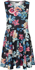 Womens Plus Floral  Sleeveless Swing Flared Ladies Skater Dress 14-28
