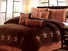 Star Comforter Western Brown Micro- Suede Set + Matching Curtain
