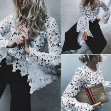 Casual Shirt Pullover White Fashion Womens Lace Hollow Horn Sleeve Tops Blouse