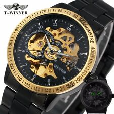 Mens Automatic Self Wind Watch Skeleton Military Mechanical Watch Men Wristwatch