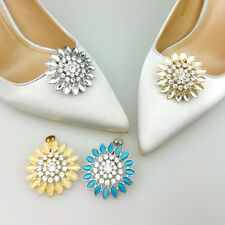 Silver/Gold Flower Rhinestone Crystal Wedding Bridal Shoe Clips Pair Accessories