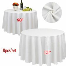 "10x 90"" 120"" White Round Covers Table Cloth Tablecloths Wedding Party Banquet US"