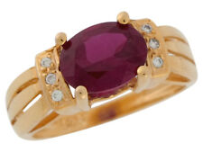 10k or 14k Yellow Gold Simulated Garnet and White CZ Ladies Split Shank Ring