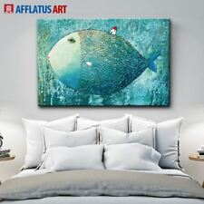 Nordic Canvas Painting Abstract Fish Wall Art Painting Canvas Poster Watercolor