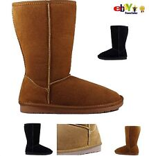 Ladies Real Sheepskin Leather Mid Calf Winter Womens Girls UK Boots Shoes Size