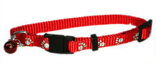 Safety Breakaway Cat Collar with Bell and Paws Printed 4 Colors - 21 x 30cm