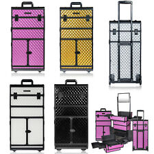 Rolling Cosmetic Train Case Professional Make Up Vanity Artist Storage Organizer