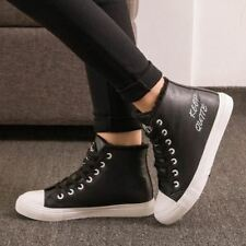 Black Boots Snow Warm Winter Sneakers PU Boots Botas Lace Up Ankle Boots Ladies