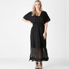 Women Plus Size Solid Black Color V-Neck Short Sleeve Ankle-Length Dress