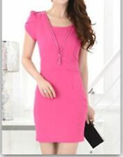 Summer Women V Neck Elegant Short Sleeve Sheath V Neck Dress