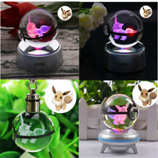 Crystal Ball Pokemon Pokeball Eevee 3D LED Night Light Key Ring Creative Gift