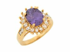 10k or 14k Yellow Gold Simulated Amethyst White CZ Brilliant Ladies Ring