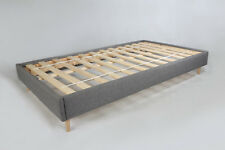 Solid Pine Bed Frame Grey Fabric Upholstery with Mattress option