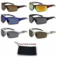 Mens Xloop Semi Rimless Sports Wrap Biker  Ski Hunting Golf Mirrored Sunglasses