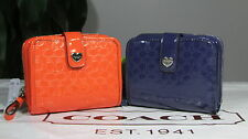 NWT Coach Perforated Embossed Liquid Gloss Med Zip Around Wallet F51678