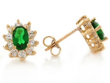 10k or 14k Yellow Gold Simulated Emerald White CZ May Birthstone Stud Earrings