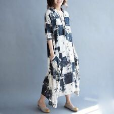 Summer Cotton Linen Casual Vintage Party Long Dress For Women PQ288