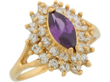 10k or 14k Yellow Gold Simulated Amethyst White CZ February Ladies Cluster Ring
