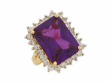 10k or 14k Yellow Gold Simulated Amethyst White CZ Opulent Ladies Rectangle Ring
