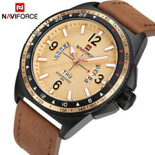 NAVIFORCE Men Sports Watches Quartz Date Watch Man Military Leather Wrist Watch