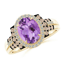 Vintage Style Amethyst Diamond Halo Cocktail Ring 14K Yellow Gold Size 3-13
