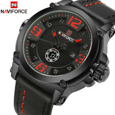 NAVIFORCE Men Sports Watches Waterproof Men's Army Military Leather Quartz Watch