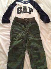 NWT Baby Gap boy 2-piece FALL logo t shirt army camouflage pants outfit SET 4 4T