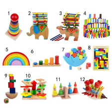 Kids Colorful Intellectual Wooden Toys Puzzle/ Blocks Montessori Toys Xmas Gift