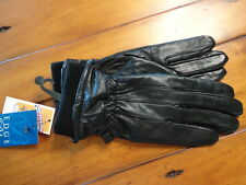 NWT Womens Auclair Glace Leather Gloves Fleece Lined Black