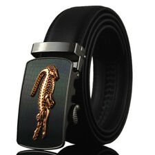 New Gold Crocodile Casual Mens Belt Automatic Buckle Genuine Leather Waistband