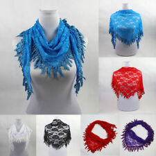 Fashion Women Lady Long Lace Rose Flower Triangular Mantilla Scarf Wrap Shawl