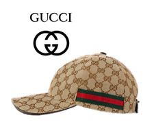 Men GG Canvas Beige Adjustable Baseball Hat with Green and Red Web Size M