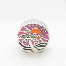 Genuine S925 Sterling Silver Tropical Sunset Charm, Mixed Enamel & Clear CZ Bead