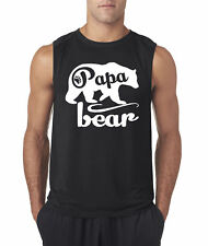New Way 787 - Men's Sleeveless Papa Bear Grizzly Father's Day Padre Paternal