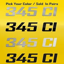 345 CI Cubic Inch Decal Graphic Fits Chevrolet Corvette Convertible, Pontiac