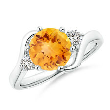 Round Citrine Diamond Three Stone Cocktail Ring 14K White Gold Size 3-13