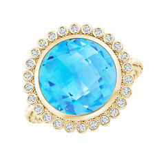 Round Swiss Blue Topaz Ring with Beaded Shank 14K Yellow Gold