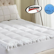 Luxury Mattress Topper 400TC Cotton Waterproof Breathable Fitted Quilted Pad