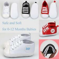 Baby Boys Girl Toddler Canvas Crib Trainers Soft Shoes Gifts, 0-12 Months