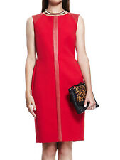 -% ex M&S AUTOGRAPH Red Faux Leather Panelled Shift Dress UK 12-22 RRP £89