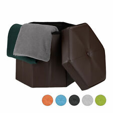 Folding Storage Ottoman Foldable Footstool Seat Faux Leather Pouf Stool Chair