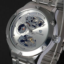 Mens Silver Wristwatch Skeleton Analog Mechanical Automatic Steel Band Watch C