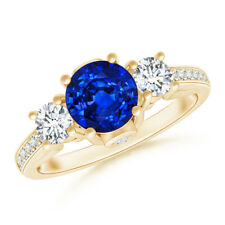 Classic Round Blue Sapphire and Diamond Three Stone Ring 14K Yellow Gold