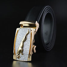 Gold Jaguar Fashion Youth Mens Belts Automatic Buckle Genuine Leather Waistband